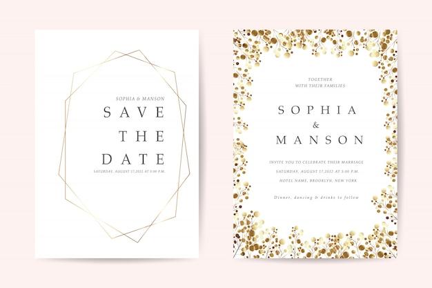 Minimale bruiloft uitnodigingskaarten vector