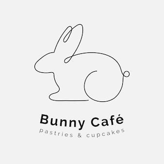 Minimale bunny logo sjabloon, bewerkbare lijn kunst ontwerp vector