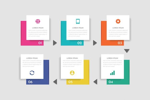 Minimale business infographic-sjabloon met 6 stappen, opties en marketingpictogrammen.