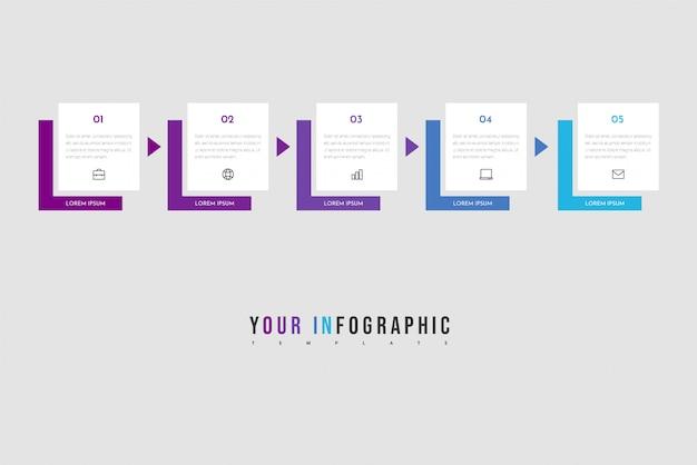 Minimale business infographics-sjabloon met 5 stappen, opties en marketingpictogrammen.