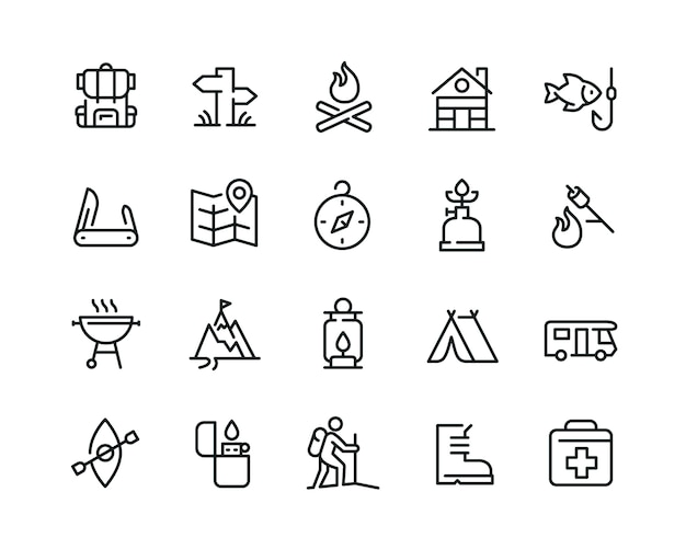 Minimale camping icon set