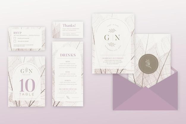 Minimale collectie bruiloft briefpapier Gratis Vector
