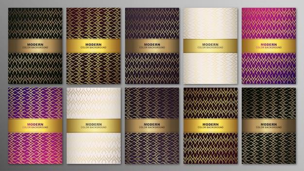 Minimale covers, abstracte geometrische achtergrond met lijnen. gouden textuur.