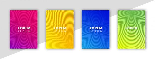Minimale dekking ontwerpsjabloon instellen met technische cirkels en achtergrond met kleurovergang