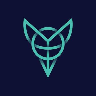Minimale dierenvos logo icon line modern