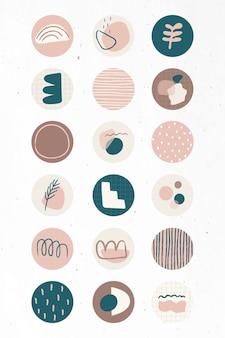 Minimale doodle sociale verhaal hoogtepunten icon set