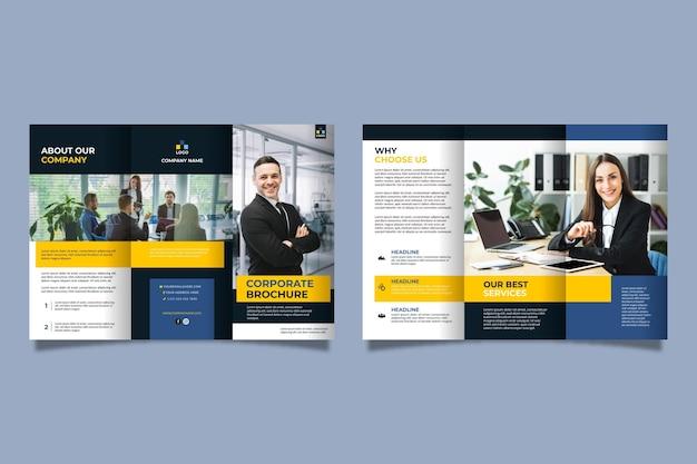 Minimale driebladige brochuremalplaatje met afbeelding