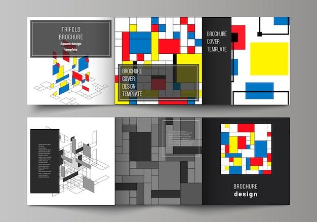 Minimale driebladige brochuremalplaatje met kleurrijke geometrische vormen