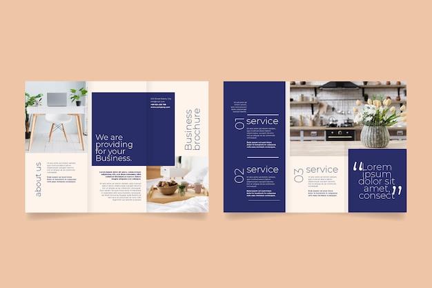 Minimale driebladige brochuremalplaatje met voor- en achterkant