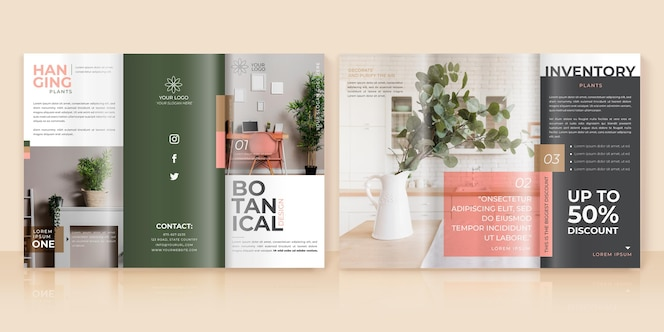 Minimale driebladige brochuremalplaatje