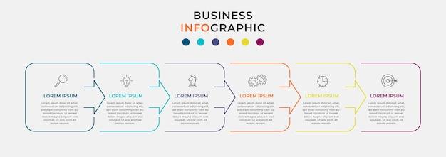 Minimale dunne lijn business infographics sjabloon. tijdlijn met 6 stappen, opties en marketing iconen. vector lineaire infographic met twee cirkel verbonden elementen. kan gebruikt worden voor presentatie.