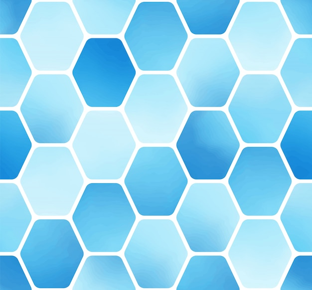 Minimale eenvoudige blauwe aquarel zeshoek blok naadloze patroon