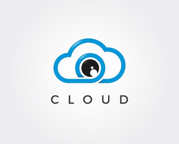 Minimale foto cloud logo sjabloon