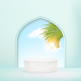 Minimale geometrische podiumachtergrond met palmbladeren 3d illustratie