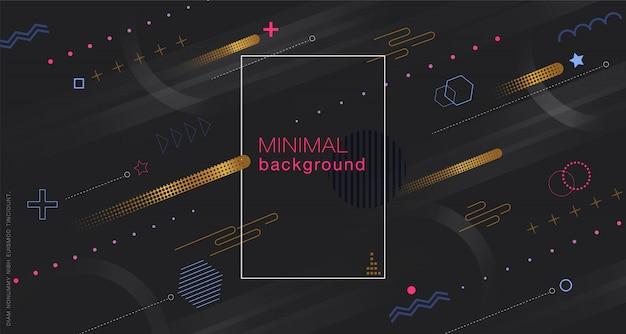 Minimale geometrische zwarte achtergrond Premium Vector
