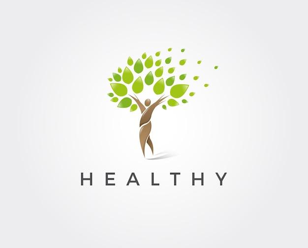 Minimale gezonde logo sjabloon - vectorillustratie