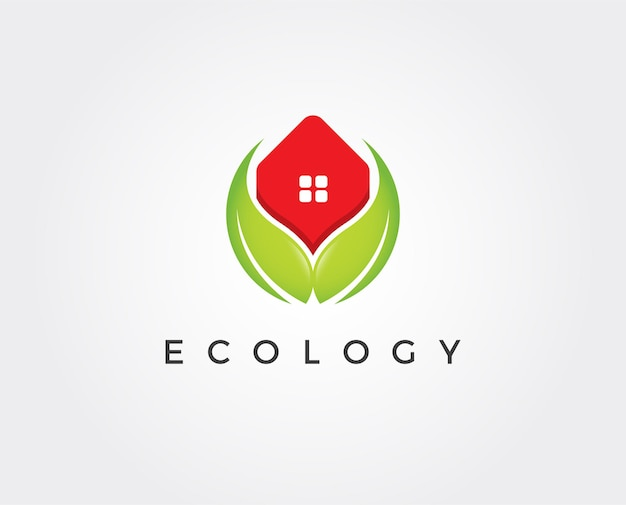 Minimale groene huis logo sjabloon
