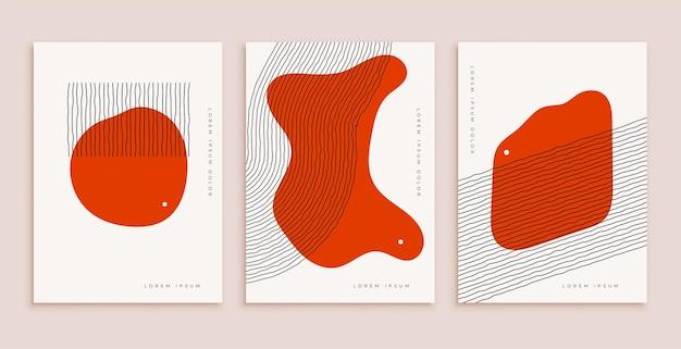 Minimale handgetekende abstracte poster voor wanddecoratie in rode kleur met lijnen