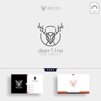Minimale herten overzicht logo sjabloon met visitekaartje