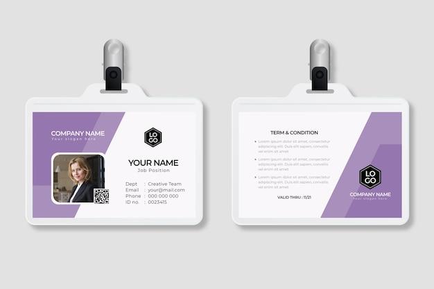 Minimale identiteitskaart-sjabloon met afbeelding