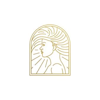 Minimale illustratie van gevormd lineaire stijl embleem sjabloon profiel van vrouwengezicht