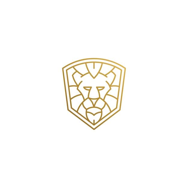 Minimale illustratie van schild shap lineaire stijl logo ontwerpsjabloon
