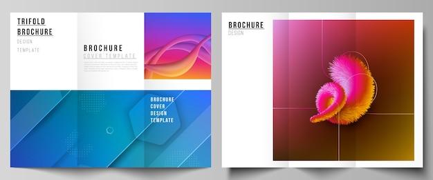 Minimale illustratielay-outs. moderne creatieve covers ontwerpsjablonen voor driebladige brochure of flyer. futuristisch technologieontwerp, kleurrijke achtergronden met de vloeiende samenstelling van gradiëntvormen.