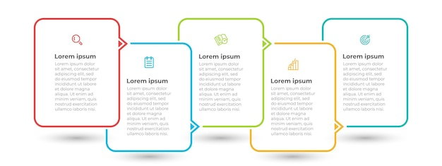 Minimale infographic sjabloon met pictogrammen en 5 opties of stappen