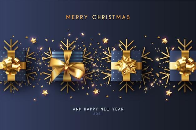 Minimale kerst achtergrond met realistische blauwe cadeautjes
