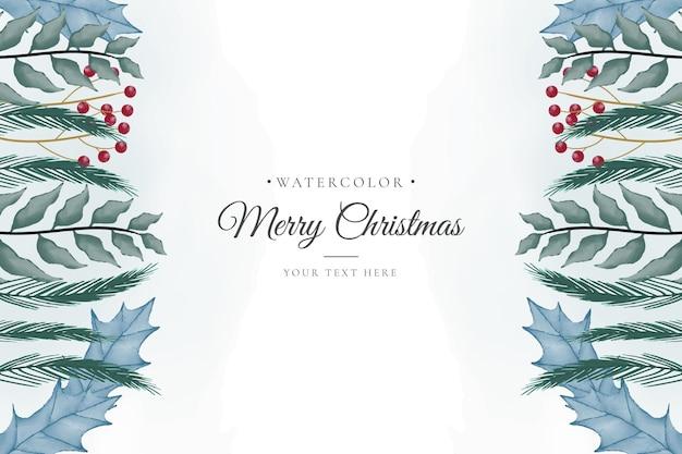Minimale kerstachtergrond met waterverfornamenten