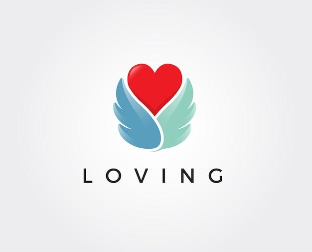 Minimale liefdesvleugel logo sjabloon