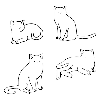 Minimale lijn katten set, schattige katten doodle, hand getrokken stijl illustratie.