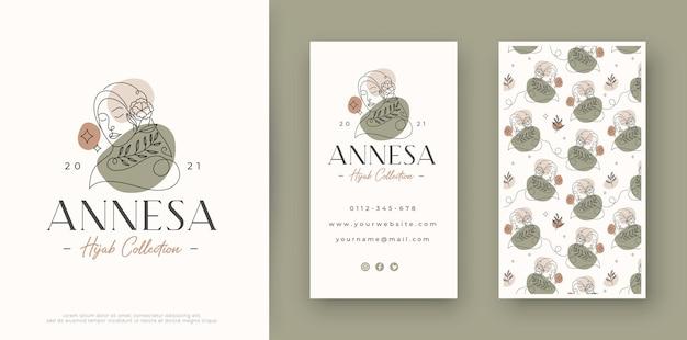 Minimale lijn kunst vrouw logo ontwerp met visitekaartje