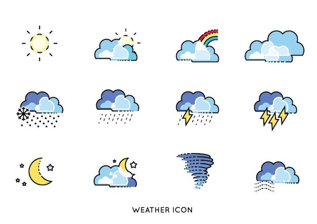Minimale lijn voorspelling weerpictogram vector