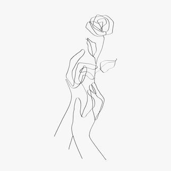 Minimale lijntekeningen handen bloemen zwarte esthetische illustratie