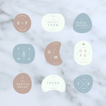 Minimale logo-collectie in pastelkleuren