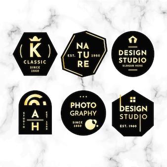 Minimale logo-collectie op marmeren achtergrond