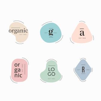 Minimale logo collectie sjabloon met pastel kleuren