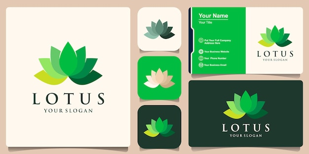 Minimale lotus flower logo en visitekaartje ontwerp