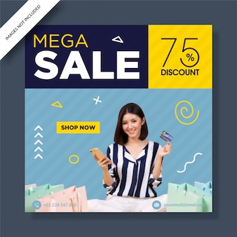 Minimale mega sale banner social media post
