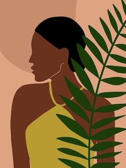 Minimale mode-achtergrond met vrouw en tropische bladeren