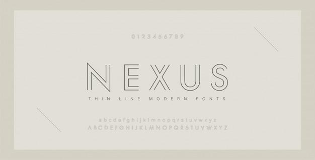 Minimale moderne lettertypen en cijfers.