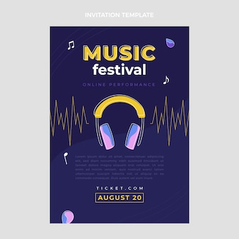 Minimale muziekfestivaluitnodiging in vlakke stijl