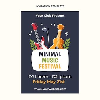 Minimale muziekfestivaluitnodiging met plat ontwerp