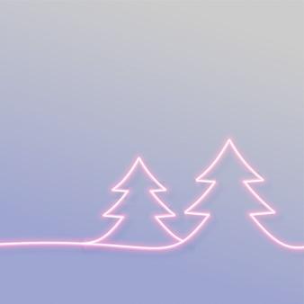 Minimale neon-chritmasboom met tekstruimte