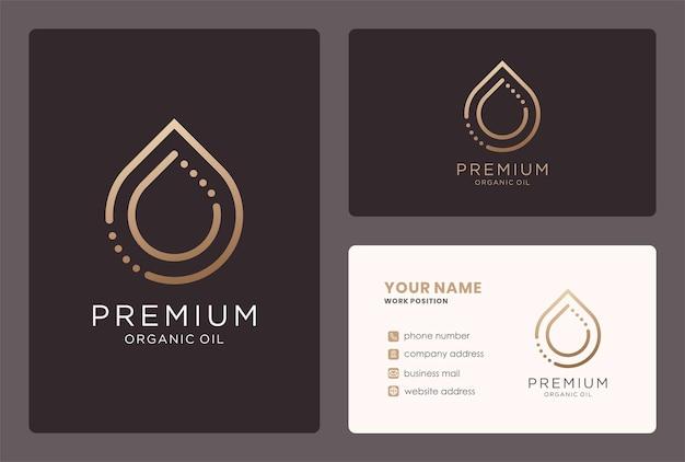 Minimale oliedruppel logo en visitekaartje ontwerp.
