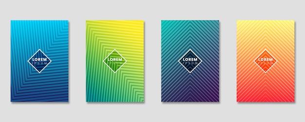 Minimale omslagsjabloon ingesteld met verloop ontwerp en geometrische lijnen