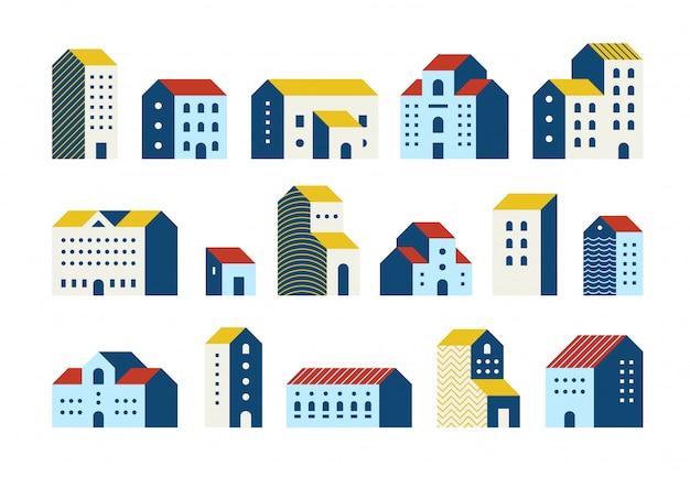 Minimale platte huizen. eenvoudige geometrische gebouwen tekenfilm verzameling, stedelijke stad herenhuizen afbeeldingenset.