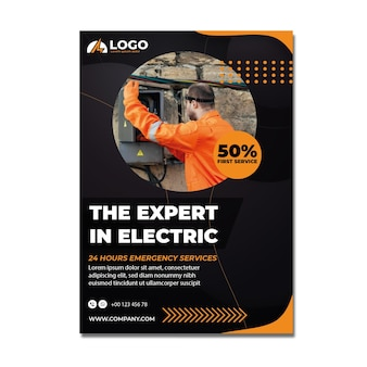 Minimale postersjabloon voor elektriciens