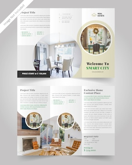 Minimale real-state driebladige brochuremalplaatje